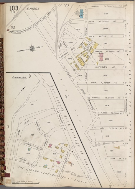 Queens V. 3, Plate No. 103 [Map bounded by Theresa Pl., Metroplitan Ave., Union Turnpike, Park Lane]