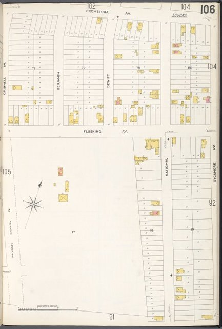 Queens V. 3, Plate No. 106 [Map bounded by Prometcha Ave., Sycamore Ave., Proposed Grinnell Ave., Grinnell Ave.]