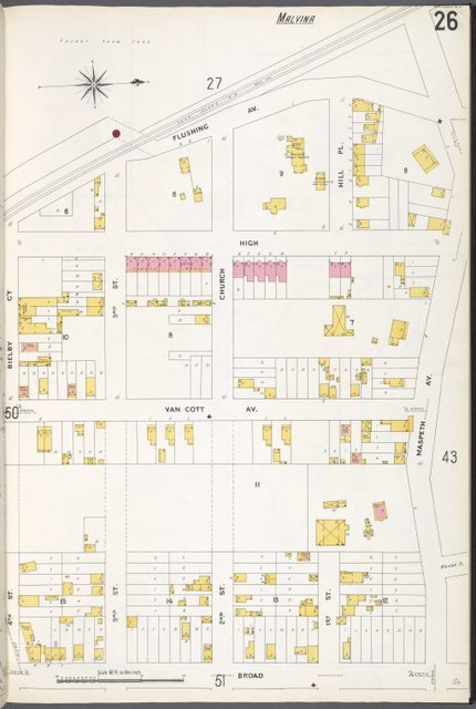 Queens V. 3, Plate No. 26 [Map bounded by Flushing Ave., Maspeth Ave., Broad St., Bielby Ct.]