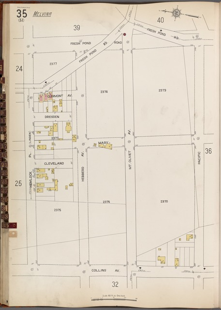 Queens V. 3, Plate No. 35 [Map bounded by Fresh Pond Rd., Pacific, Collins Ave., Hemlock Pl.]
