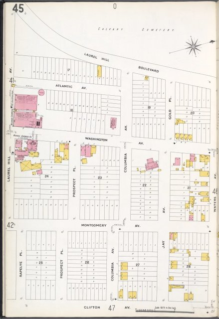 Queens V. 3, Plate No. 45 [Map bounded by Laurel Hill Blvd., Waters Ave., Clifton Ave., Rapelye Pl., Laurel Hill Ave.]