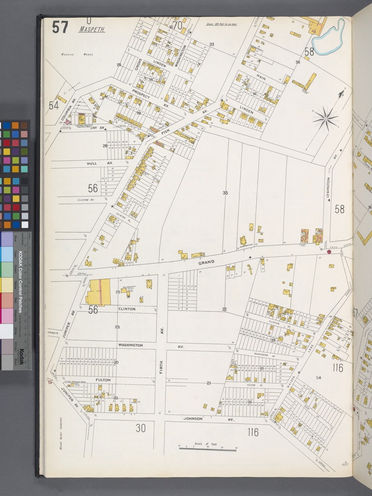 Queens V. 3, Plate No. 57 [Map bounded by Prospect Ave., Fisk Ave., Lexington Ave., Maiden Lane, Johnson Ave., Juniper Ave., Columbia Ave.]