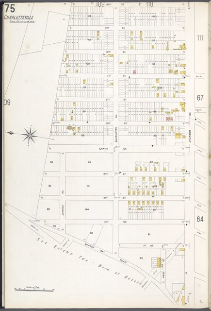 Queens V. 3, Plate No. 75 [Map bounded by 10th St., Jackson Ave., Bowery Bay Rd., Charlotte Ave.]