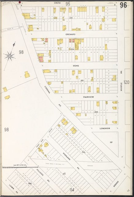 Queens V. 3, Plate No. 96 [Map bounded by Smith, Myrtle Ave., Broad, Lawn Ave., Corona Ave.]