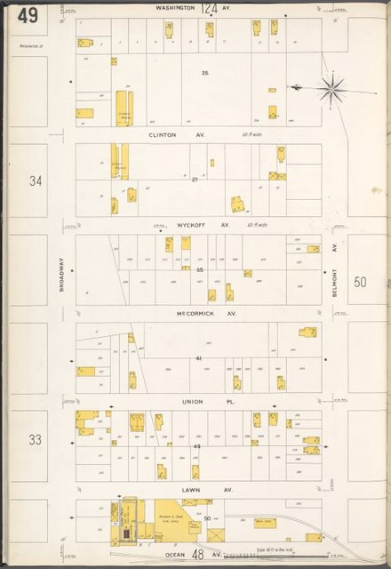 Queens V. 4, Plate No. 49 [Map bounded by Washington Ave., Belmont Ave., Ocean Ave., Broadway]