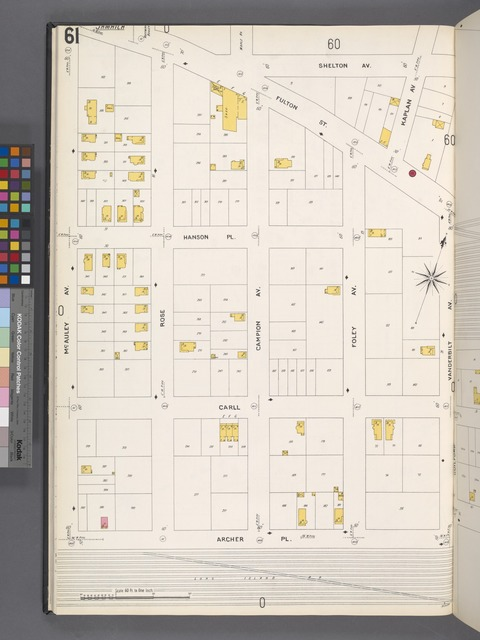 Queens V. 4, Plate No. 61 [Map bounded by Shelton Ave., Vanderbilt Ave., Archer Pl., McAuley Ave.]