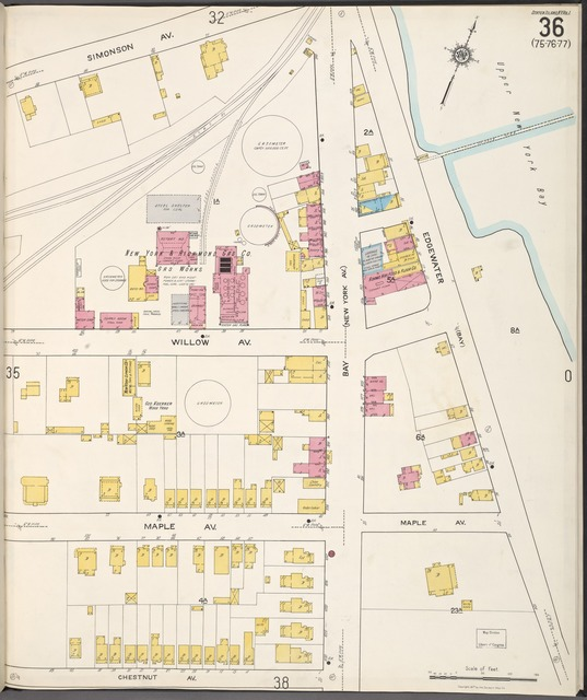 Staten Island, V. 1, Plate No. 36 [Map bounded by Simonson Ave., Edgewater, Chestnut Ave.]