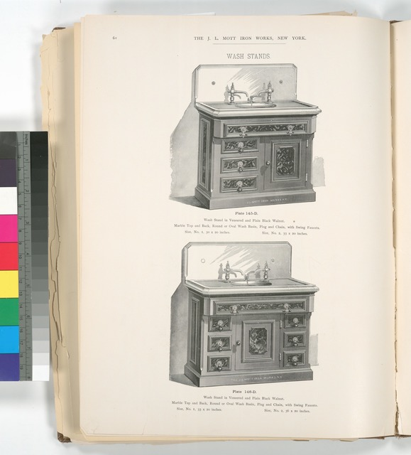 [Wash stand in veneered and plain black walnut. Plates 145-D and 146-D.]