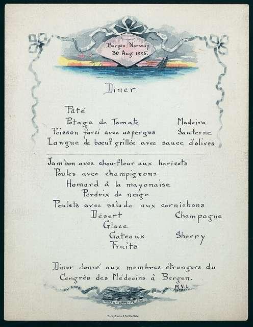 "DINNER FOR MEMBRES ETRANGERS DU CONGRES DES MEDECINS A BERGEN [held by] ? [at] ""BERGEN, NORWAY"""