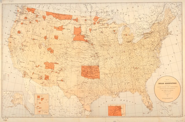 Map showing the location of the Indian reservations within the limits of the United States and territories