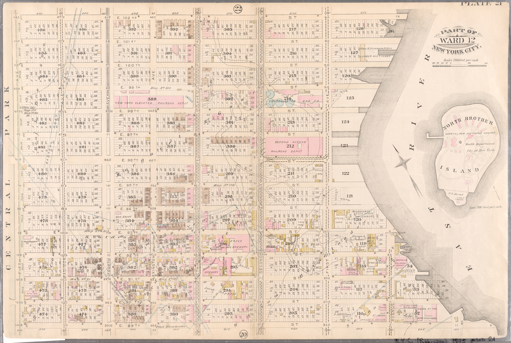 Plate 21: Bounded by E  102nd Street, East River (First Avenue), E