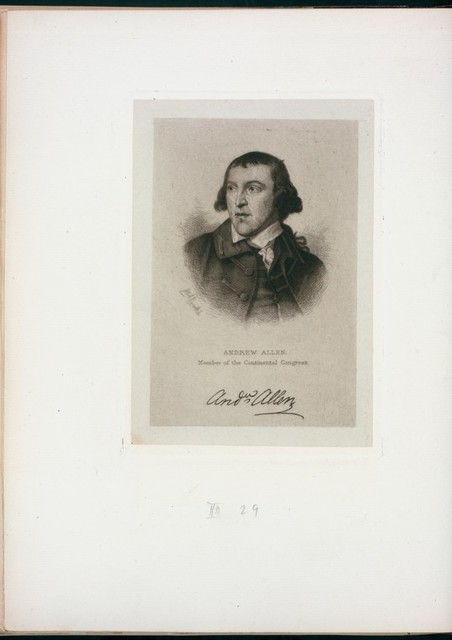 Andrew Allen, member of the Continental Congress.