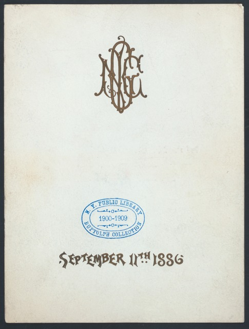 """COMPLIMENTERY BANQUET TO MR. N.C. GOODWIN [held by] [CITY OF NEW YORK?] [at] """"DELMONICO'S, NEW YORK, NY"""" (HOT;)"""