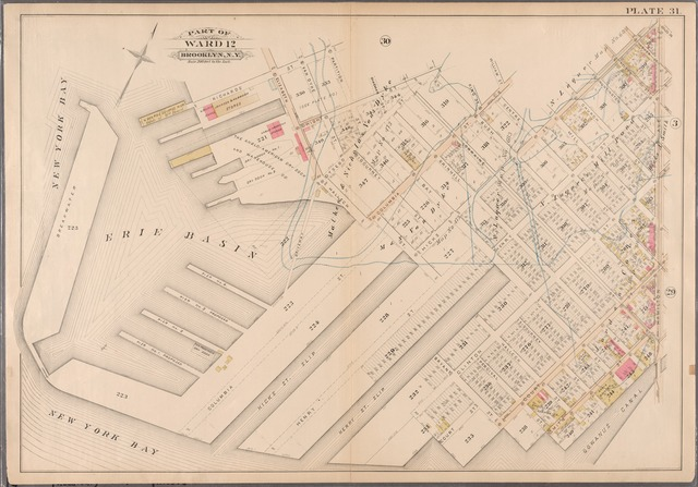[Plate 31: Bounded by Richards Street, Partition Street, Dwight Street, Bush Street, Columbia Street, Centre Street, Hicks Street, Luquer Street, Henry Street, Nelson Street, Hamilton Avenue, Smith Street, Percival Street, Court Street, Bryant Street, Clinton Street, Bay Street, Hicks Street, (New York Bay) Halleck Street and Elizabeth Street.]