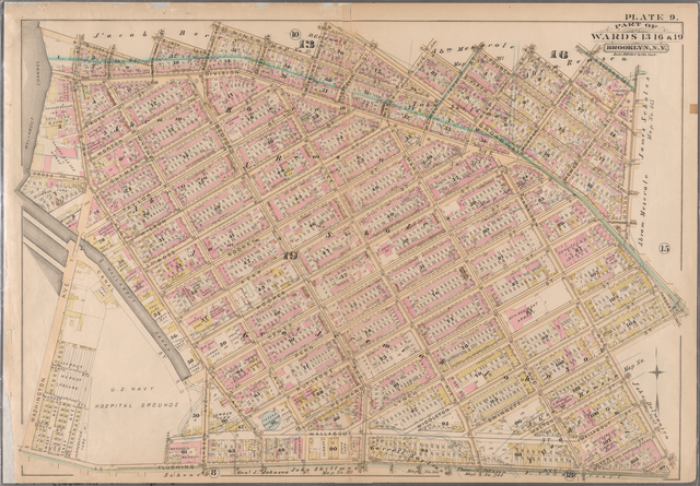Plate 9: Bounded by S. 11th Street, Berry Street, S. 10th Street, Bedford Avenue, S. Ninth Street, Roebling Street, Broadway, Marcy Avenue, S. Fifth Street, Rodney Street, S. Fourth Street, Keap Street, S. Third Street, Hooper Street, S. Second Street, Union Avenue, Broadway, Gwinnett Street, Harrison Street, Flushing AKent Avenue.