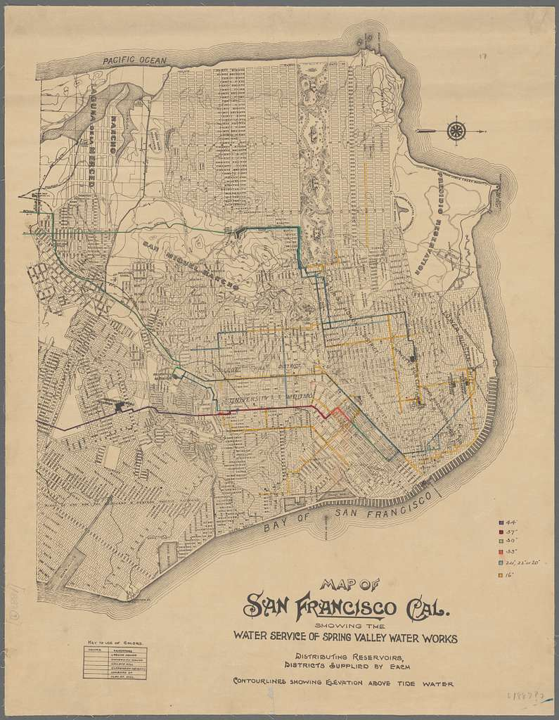 Map of San Francisco, Cal., showing the water service of Spring Valley Water Works