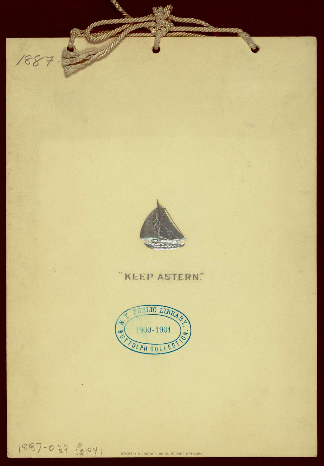 "TESTIMONIAL DINNER TO CAPTAIN CHARLES J. PAINE,OWNER OF THE VOLUNTEER AND EDWARD BURGESS,DESIGNER [held by] ? [at] ""DELMONICO'S, NEW YORK, NY"" (REST)"
