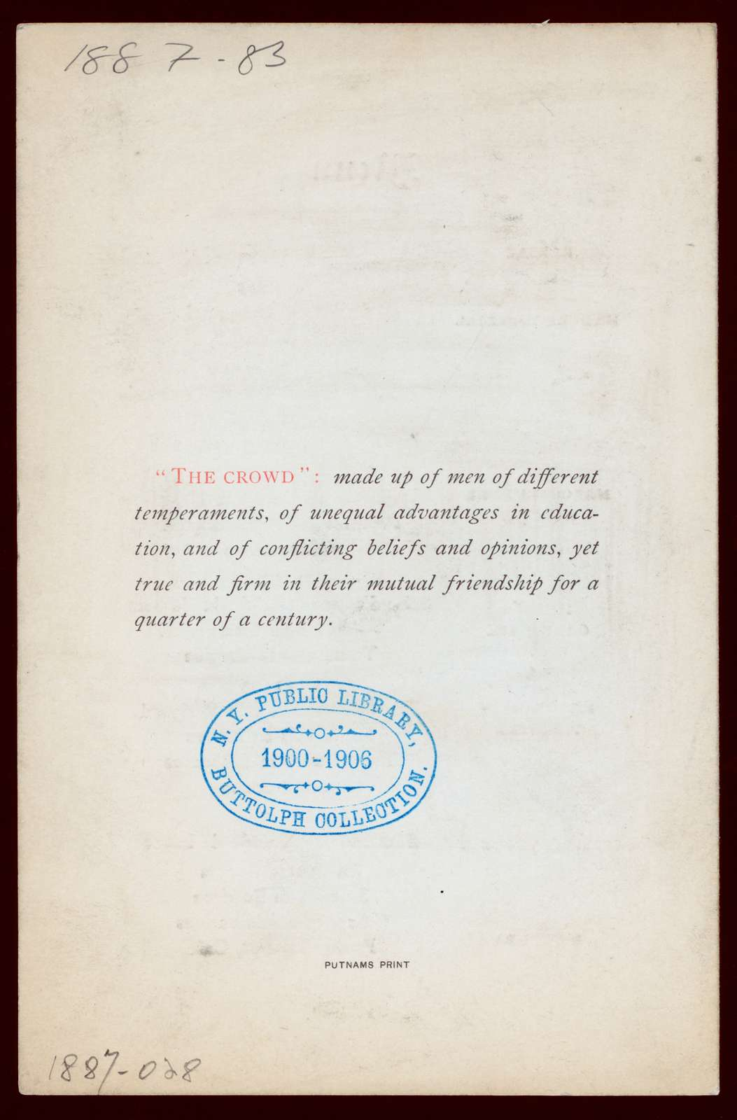 "VETERAN REUNION,TWENTY-FIFTH ANNIVERSARY [held by] CADET QUARTETTE U.S.ARMY [at] ""DELMONICO'S, NEW YORK, NY"" (REST)"