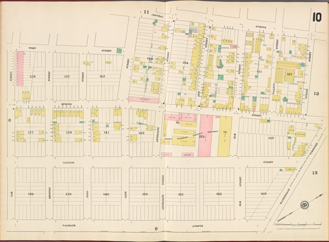 Hudson County, V. 8, Double Page Plate No. 10 [Map bounded by Central Ave., Dubois St., Hackensack Turnpike, Palisade Ave., Oak St., West St.]