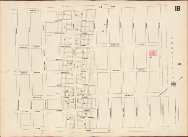 Hudson County, V. 8, Double Page Plate No. 19 [Map bounded by Bergen Line Rd., 23rd St., Bulls Ferry Rd., 14th St.]