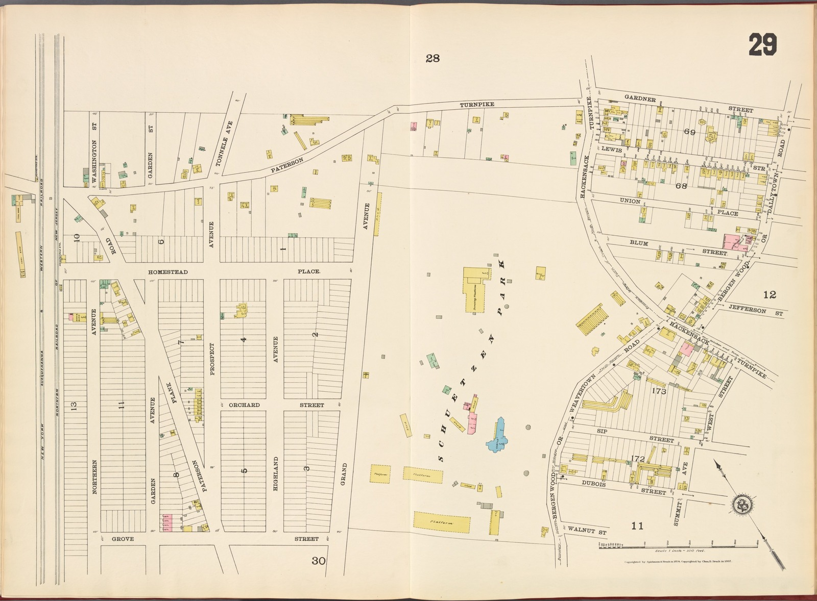 Hudson County, V. 8, Double Page Plate No. 29 [Map bounded by Paterson Turnpike, Gardner St., Bergen Wood, West St., Summit Ave., Walnut St., Grove St.]