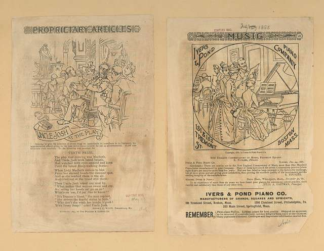Advertisements from Century Magazine, May 1893 and July 1888, depicting a theatrical production and a pianist.
