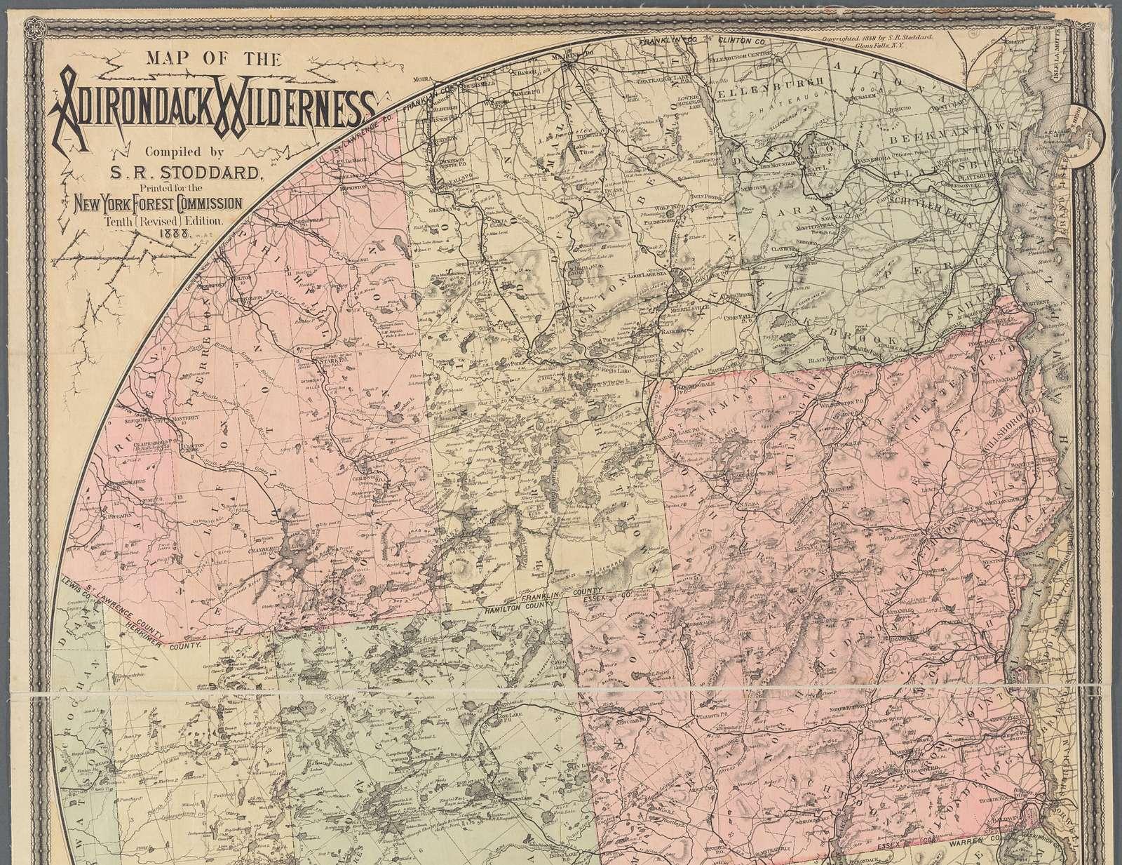 Map of the Adirondack wilderness