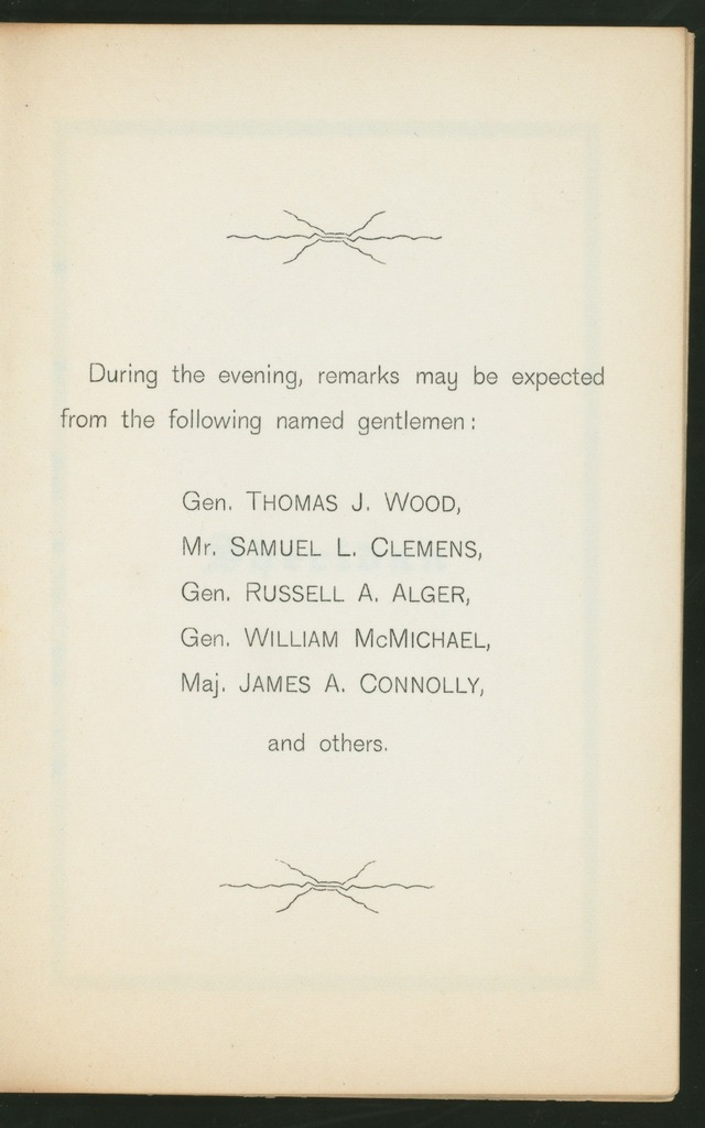 """19NTH REUNION [held by] THE SOCIETY OF THE CUMBERLAND [at] """"GRAND PACIFIC HOTEL,CHICAGO, IL;"""" (HOTEL)"""