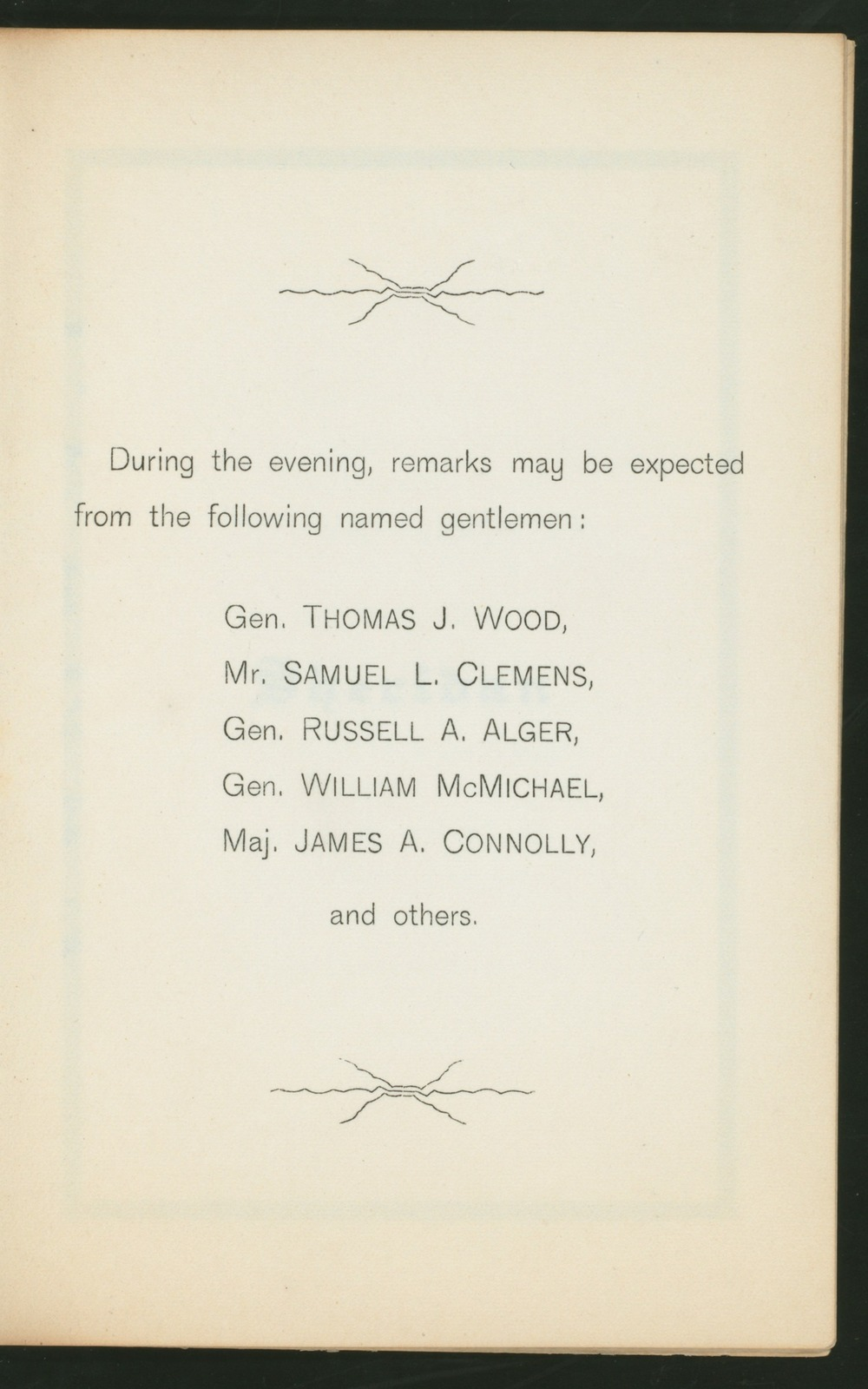 "19NTH REUNION [held by] THE SOCIETY OF THE CUMBERLAND [at] ""GRAND PACIFIC HOTEL,CHICAGO, IL;"" (HOTEL)"