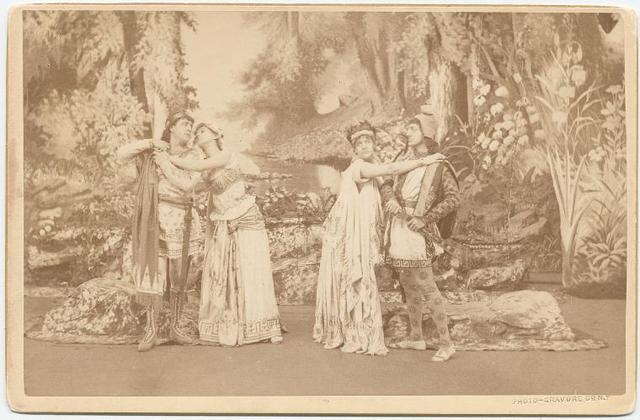 Otis Skinner, Virginia Dreher, Ada Rehan, and John Drew in the stage production A Midsummer's Night Dream.