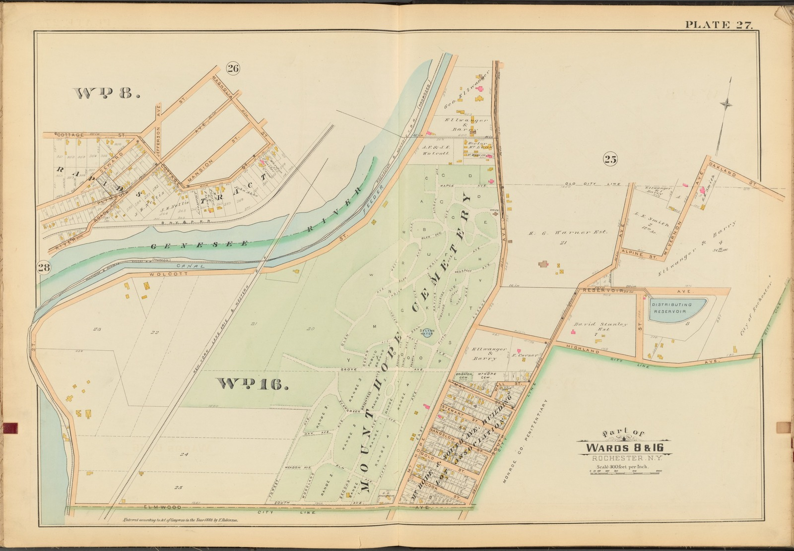 Rochester, Double Page Plate No. 27 [Map bounded by Magnolia St., Oakland St., Highland Ave., Elmwood Ave.]