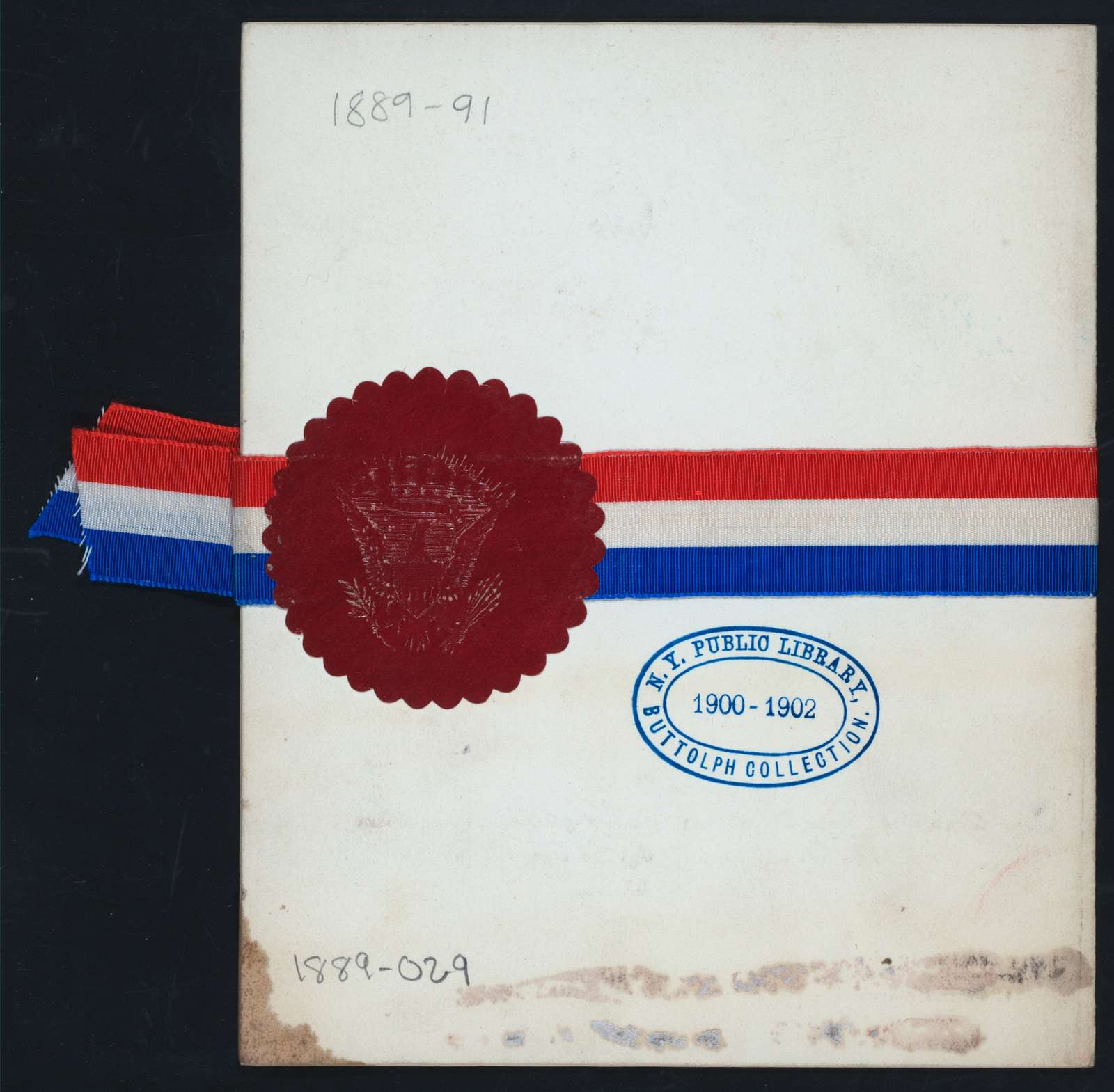 """BANQUET AND INAUGURAL BALL FOR PRESIDENT BENJAMIN HARRISON AND VICE-PRESIDENT LEVI MORTON [held by] [UNITED STATES GOVERNMENT?] [at] """"[PHILADELPHIA, PA?]"""""""