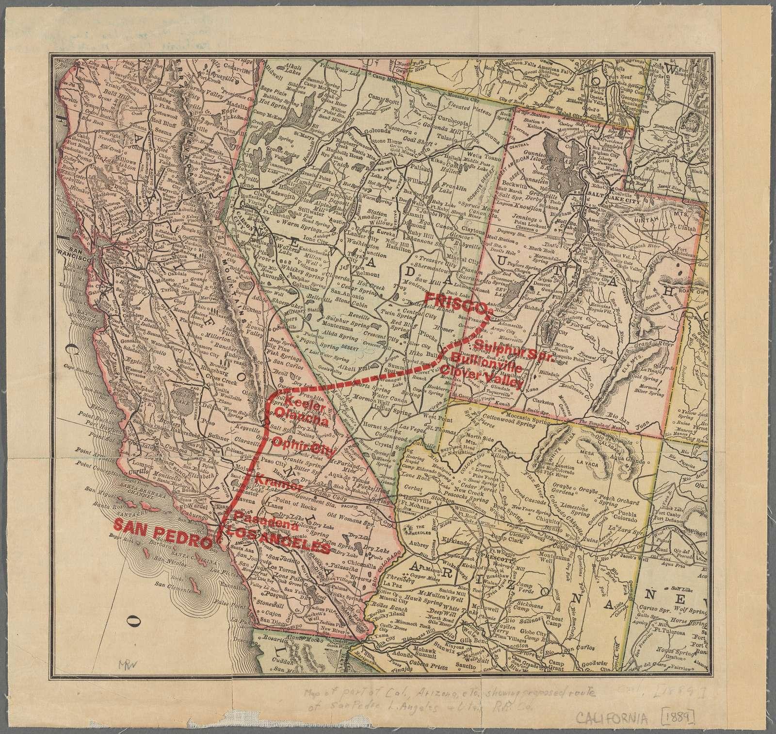 Map of part of California, Arizona, Nevada, & Utah : showing the San Pedro, Los Angeles and Utah Railway Company