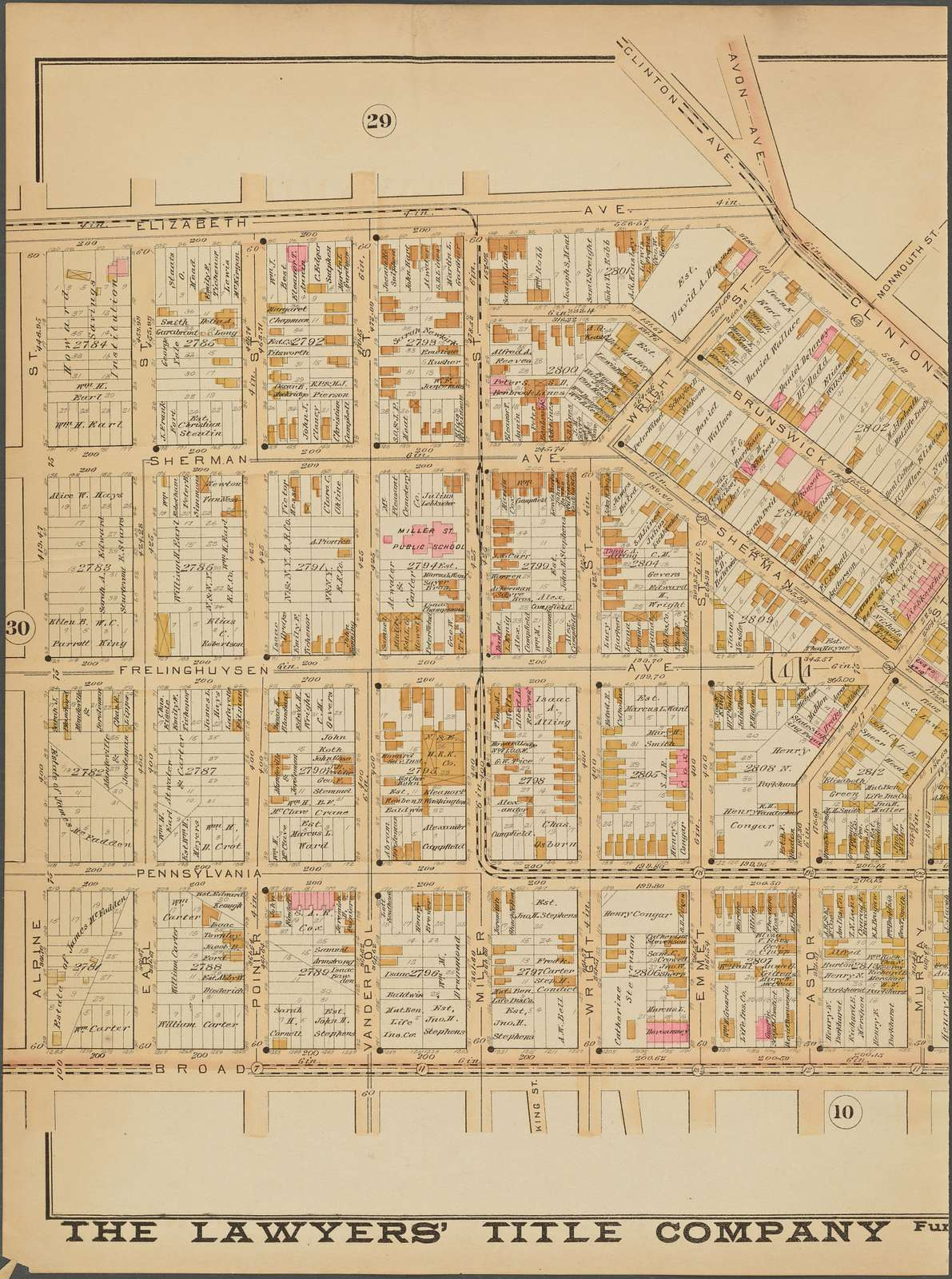 Newark, Double Page Plate No. 11 [Map bounded by Clinton Ave., Broad St., Alpine St., Elizabeth Ave.]