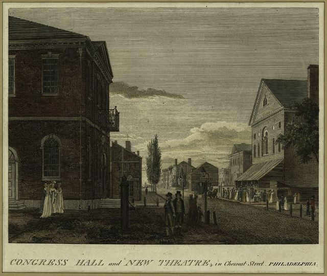 Congress Hall and New Theatre, in Chestnut Street, Philadelphia.