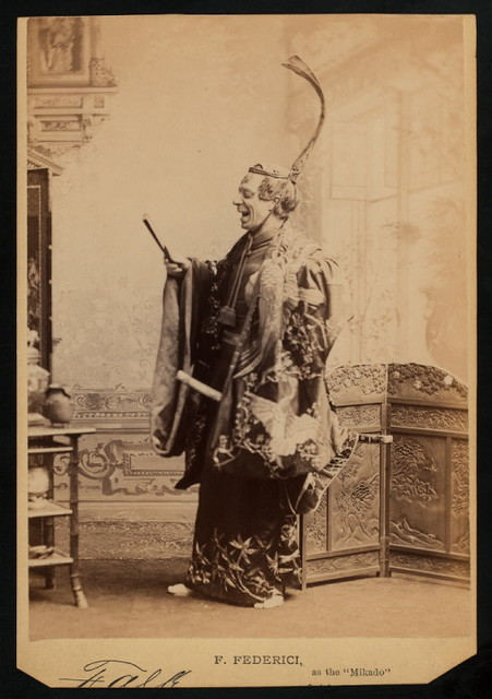 """F. Federici as """"the Mikado"""" in the D'Oyly Carte Opera Company stage production The Mikado (Gilbert And Sullivan)."""