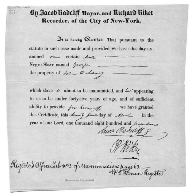 Manumission certificate for slave named George signed by Radcliffe and Riker in New York City on April 24, 1817.