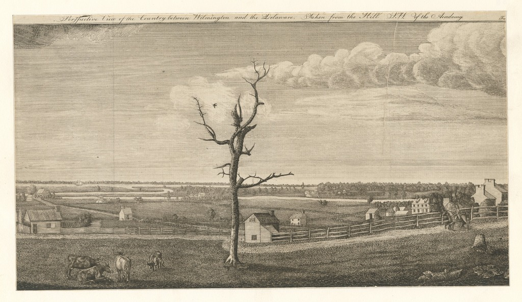 Perspective view of the country between Wilmington and the Delaware taken from the hill s.w. of the academy