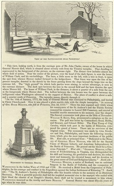View of the battle-ground near Princeton - Monument to General Mercer