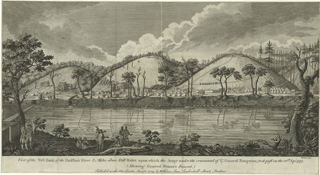 View of the west bank of the Hudson's River 3 miles above Still Water, upon which the army under the command of Lt. General Burgoyne took post on the 20th Sept. 1777 (shewing General Fraser's funeral)