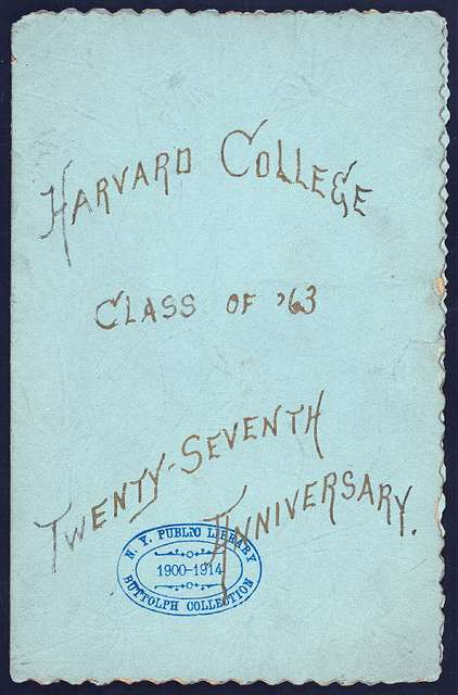 """DINNER FOR CLASS OF 1863 [held by] HARVARD COLLEGE [at] """"PARKER HOUSE, BOSTON,MA"""" (HOTEL)"""