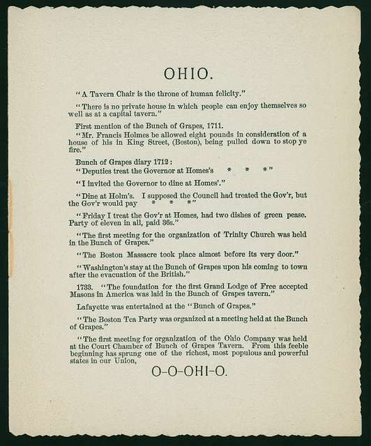 """FIFTH ANNUAL BANQUET [held by] OHIO SOCIETY OF NEW YORK [at] """"DELMONICO'S, NEW YORK, NY"""" (REST;)"""