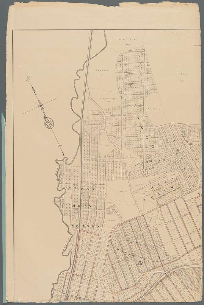 Map of Mount Vernon and environs, Westchester Co., N.Y.: showing lot numbers, subdivisions of lots and property lines, also location of sewers, gas and water mains