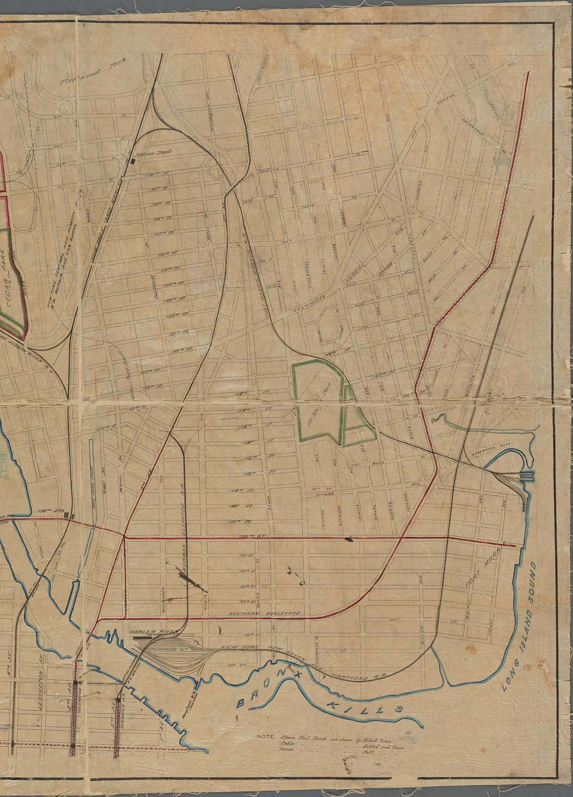 Map showing steam, cable, and horse roads in the Bronx