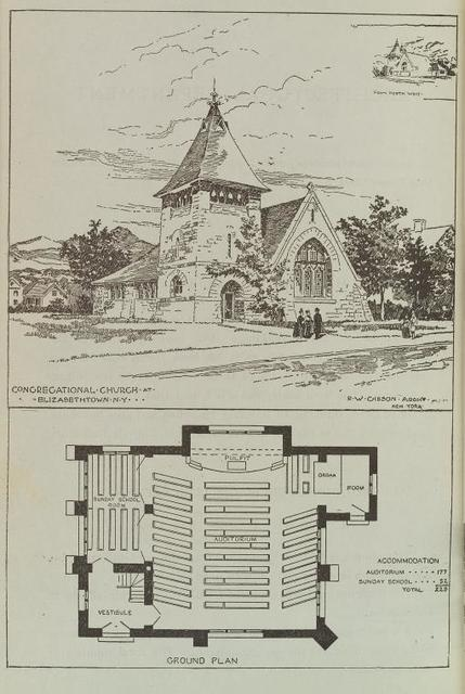 Congregational church and ground plan