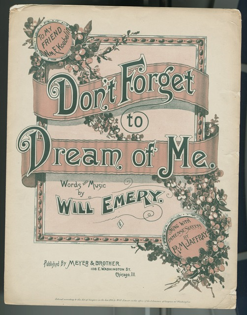 Don't forget to dream of me