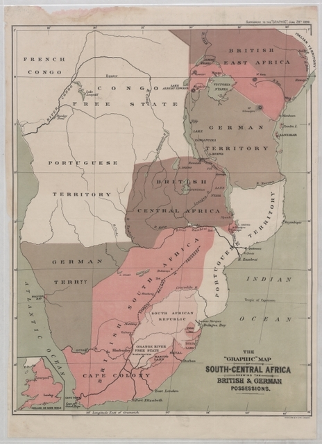 Graphic map of South-Central Africa: shewing the British & German possessions