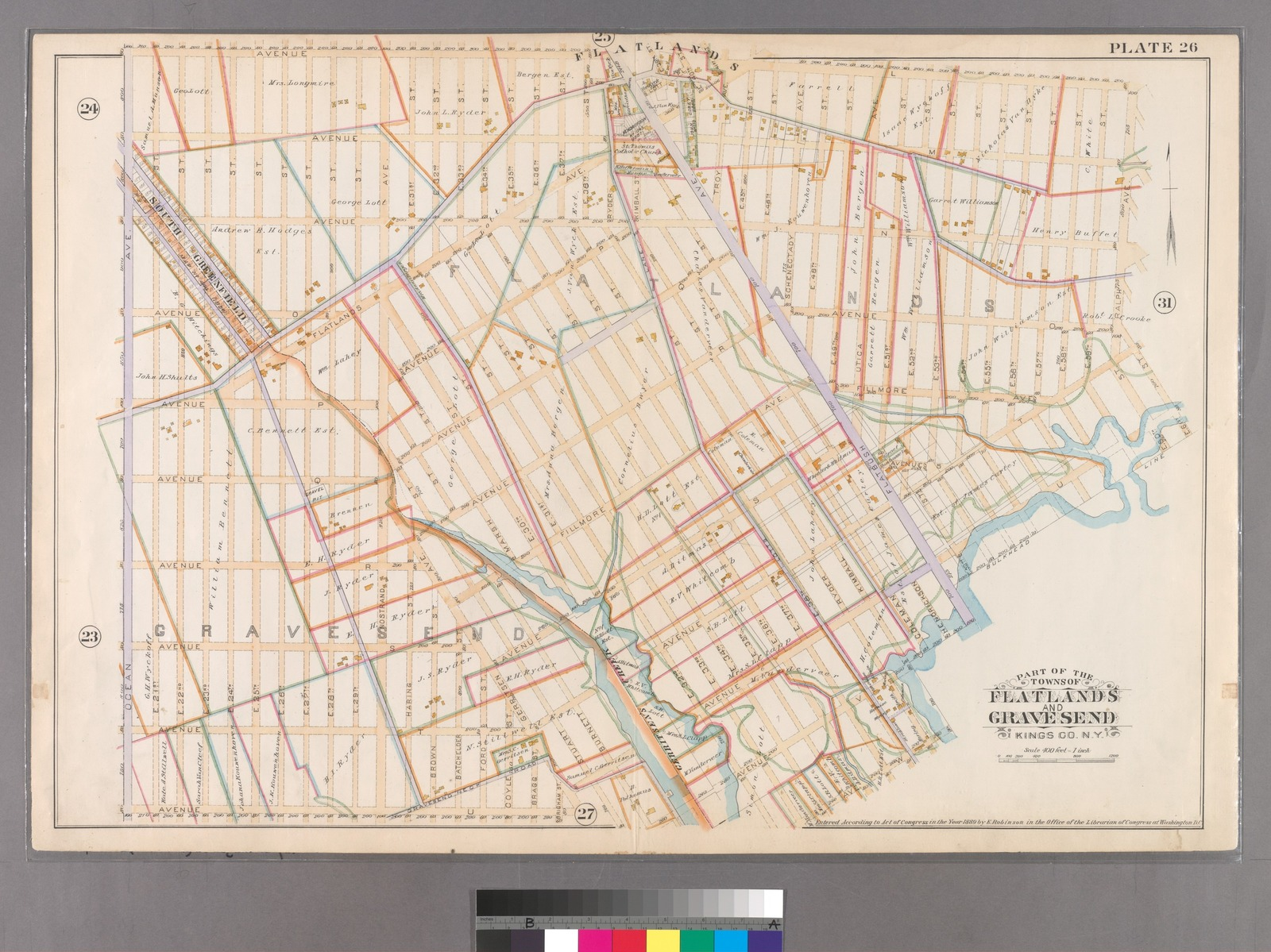 Plate 26: [Bounded by Avenue L. Ralph Avenue, E. 61st Street, Avenue U, Ryder Street, Avenue W, E. 33rd Street, Avenue V, Burnett Street, Avenue U, Gerritsen Avenue, Avenue U and Ocean Avenue.]