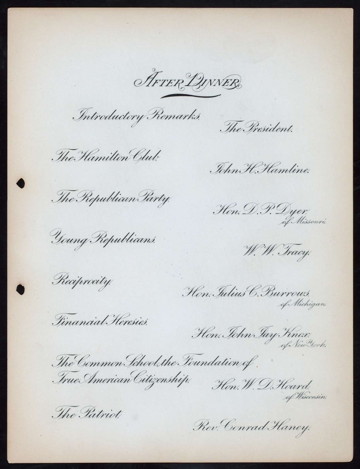 FIRST ANNUAL BANQUET [held by] HAMILTON CLUB [at] THE AUDITORIUM CHICAGO IL (CLUBHOUSE)