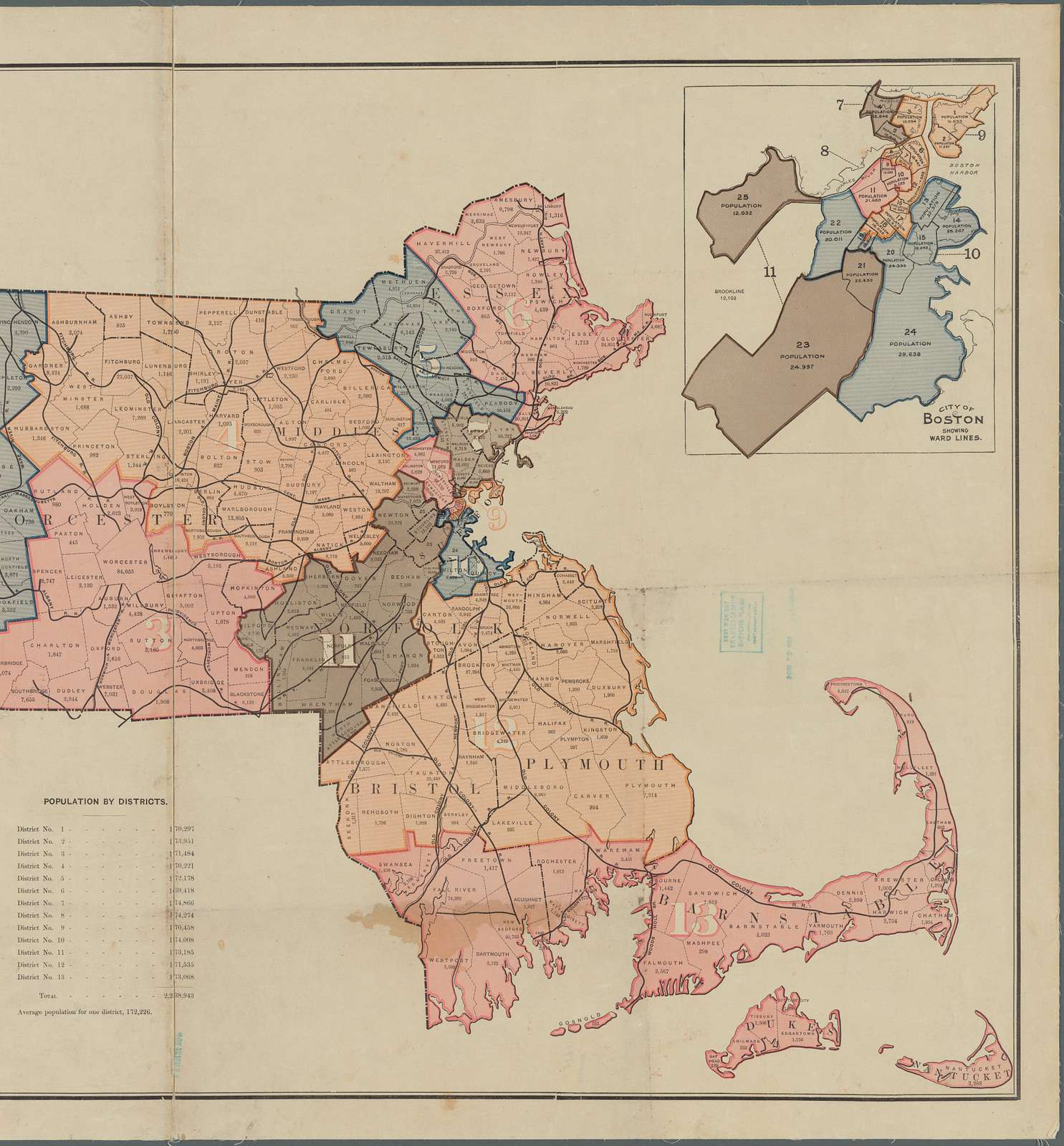 Outline map of Massachusetts: showing population according to the United States census of 1890, and congressional districts